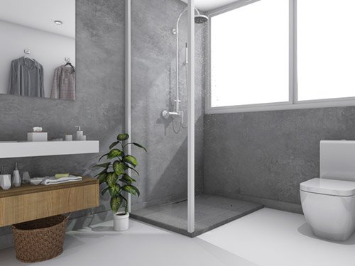 MicroCement wall toilet and bathroom