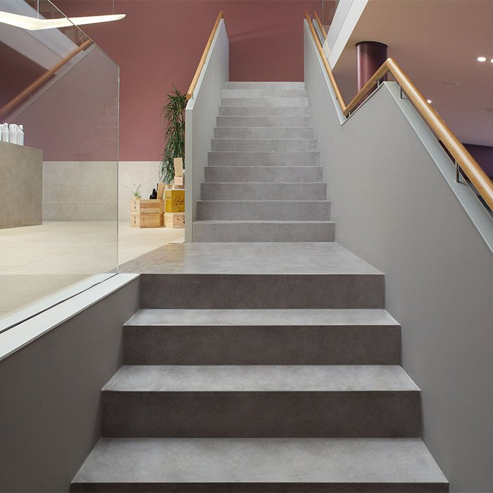 Silver grey MicroCement stairs